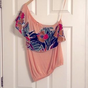 Free People one shoulder peach floral top.